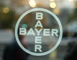 Bayer symbol on glass door - photo - June 2017