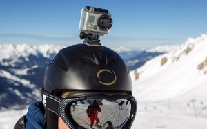 Snowboarder with GoPro camera mounted to helmet - photo - November 2017